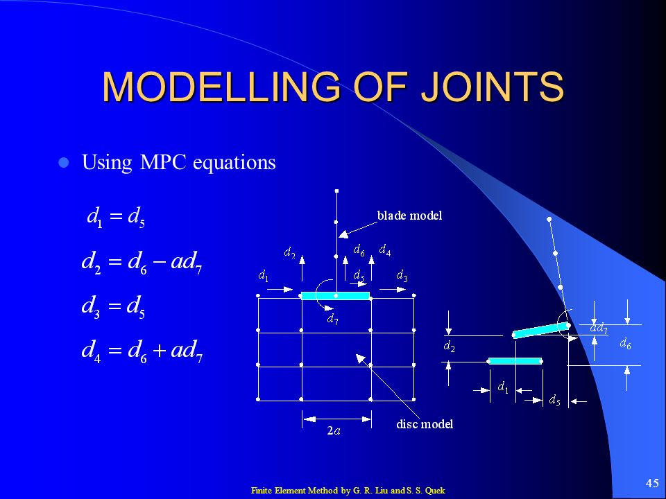 Finite Element Method by G. R. Liu and S. S. Quek 45 MODELLING OF JOINTS Using MPC equations