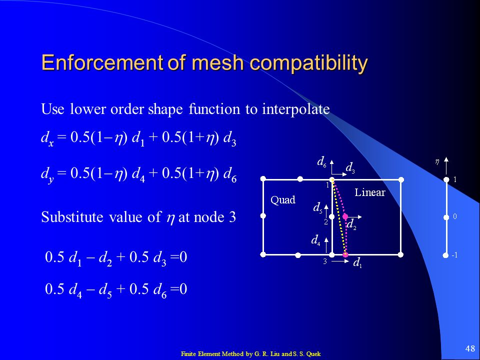 Finite Element Method by G. R. Liu and S. S. Quek 48 Enforcement of mesh compatibility d x = 0.5(1 ) d 1 + 0.5(1+ ) d 3 d y = 0.5(1 ) d 4 + 0.5(1+ ) d
