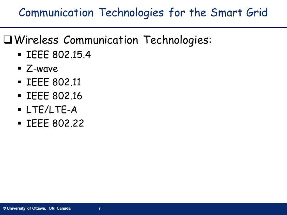 © University of Ottawa, ON, Canada7 Communication Technologies for the Smart Grid Wireless Communication Technologies: IEEE 802.15.4 Z-wave IEEE 802.1