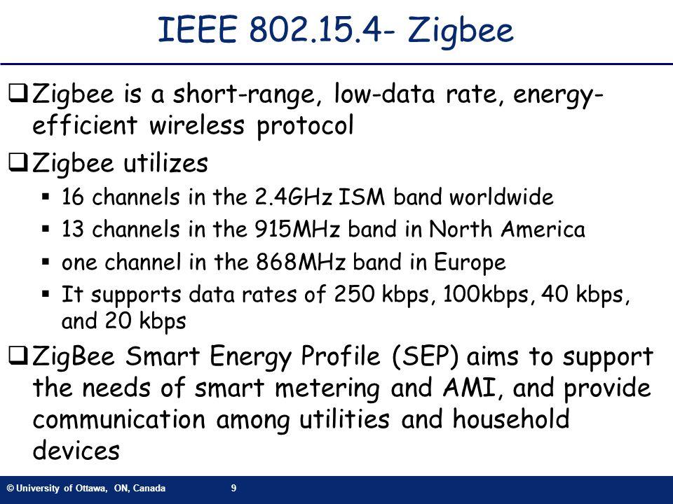 © University of Ottawa, ON, Canada9 IEEE 802.15.4- Zigbee Zigbee is a short-range, low-data rate, energy- efficient wireless protocol Zigbee utilizes