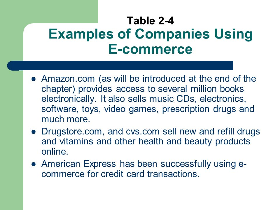 Table 2-4 Examples of Companies Using E-commerce Amazon.com (as will be introduced at the end of the chapter) provides access to several million books electronically.