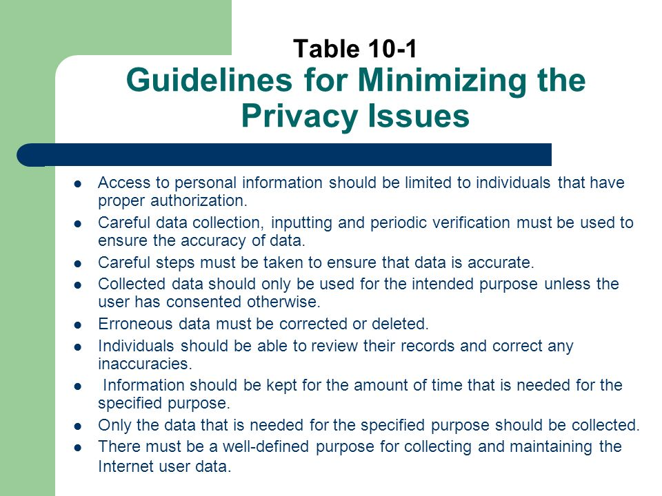 Table 10-1 Guidelines for Minimizing the Privacy Issues Access to personal information should be limited to individuals that have proper authorization.