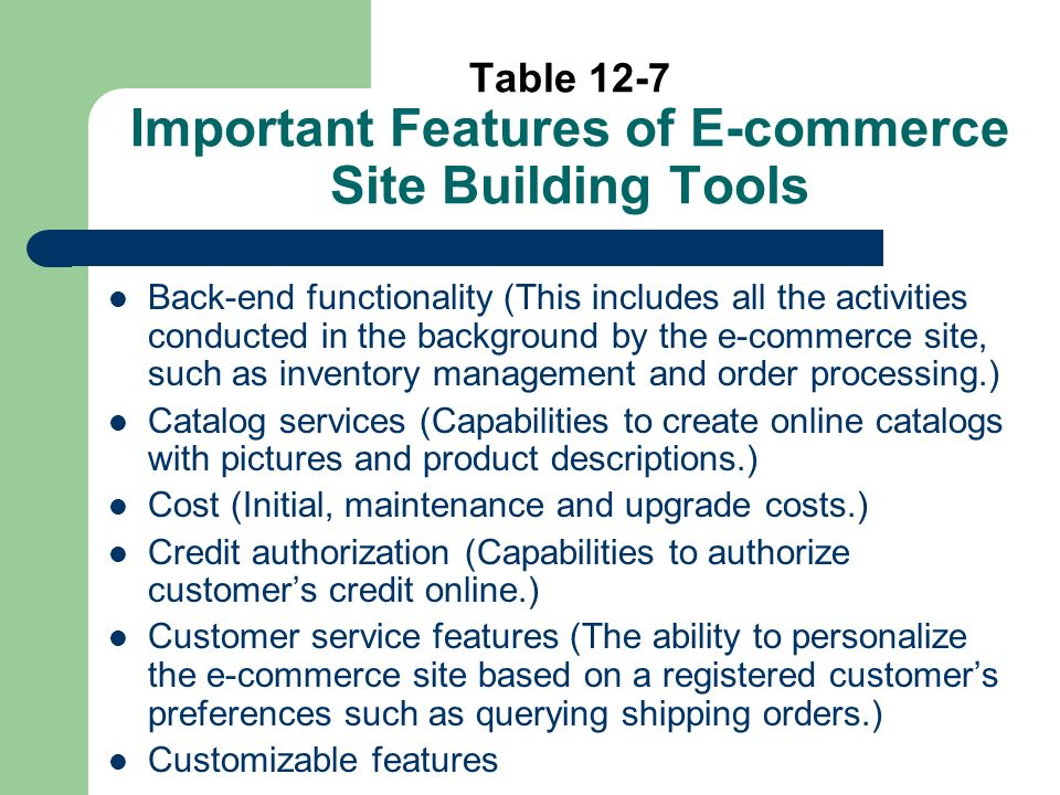 Table 12-7 Important Features of E-commerce Site Building Tools Back-end functionality (This includes all the activities conducted in the background by the e-commerce site, such as inventory management and order processing.) Catalog services (Capabilities to create online catalogs with pictures and product descriptions.) Cost (Initial, maintenance and upgrade costs.) Credit authorization (Capabilities to authorize customers credit online.) Customer service features (The ability to personalize the e-commerce site based on a registered customers preferences such as querying shipping orders.) Customizable features
