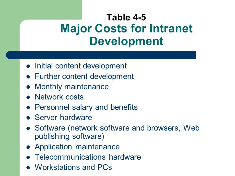Table 4-5 Major Costs for Intranet Development Initial content development Further content development Monthly maintenance Network costs Personnel salary and benefits Server hardware Software (network software and browsers, Web publishing software) Application maintenance Telecommunications hardware Workstations and PCs