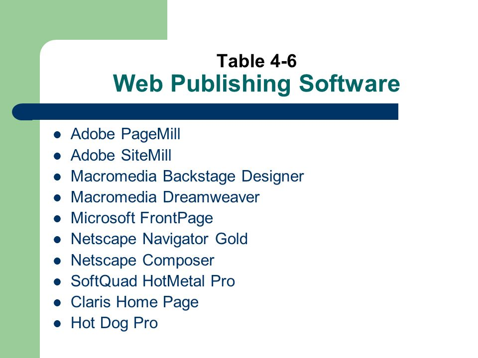 Table 4-6 Web Publishing Software Adobe PageMill Adobe SiteMill Macromedia Backstage Designer Macromedia Dreamweaver Microsoft FrontPage Netscape Navigator Gold Netscape Composer SoftQuad HotMetal Pro Claris Home Page Hot Dog Pro