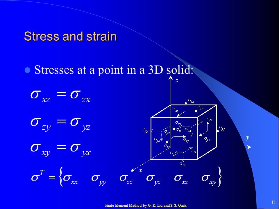 Finite Element Method by G. R. Liu and S. S. Quek 11 Stress and strain Stresses at a point in a 3D solid: