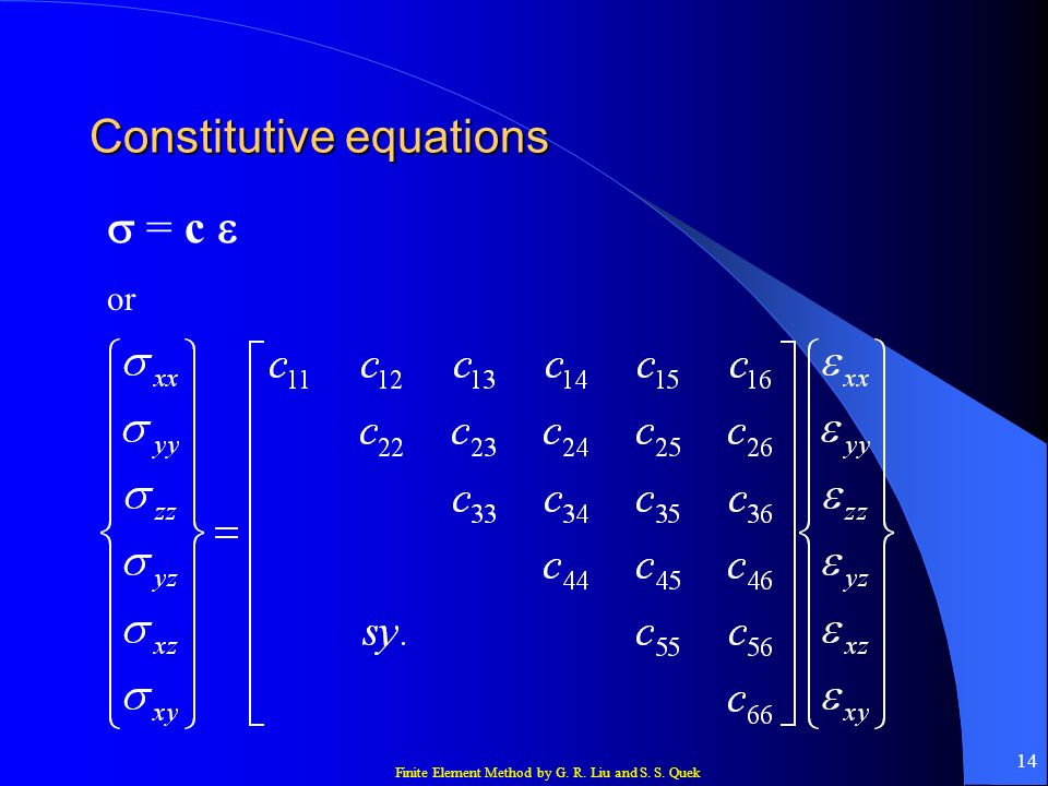 Finite Element Method by G. R. Liu and S. S. Quek 14 Constitutive equations = c or