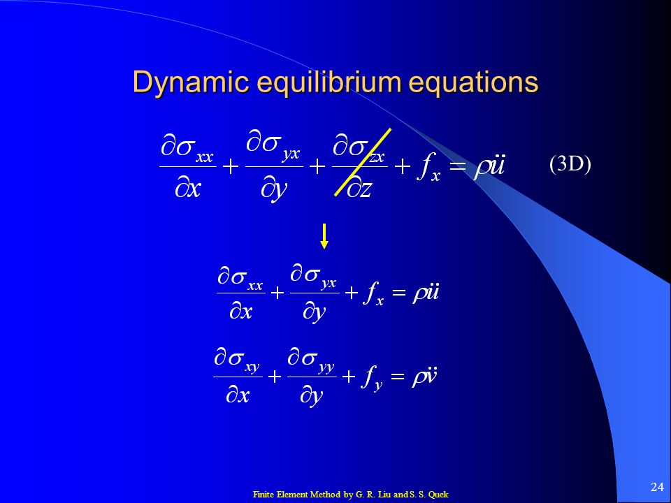 Finite Element Method by G. R. Liu and S. S. Quek 24 Dynamic equilibrium equations (3D)