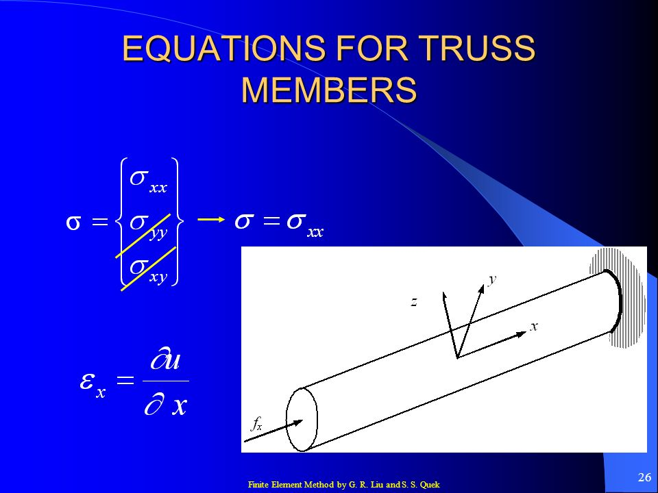 Finite Element Method by G. R. Liu and S. S. Quek 26 EQUATIONS FOR TRUSS MEMBERS