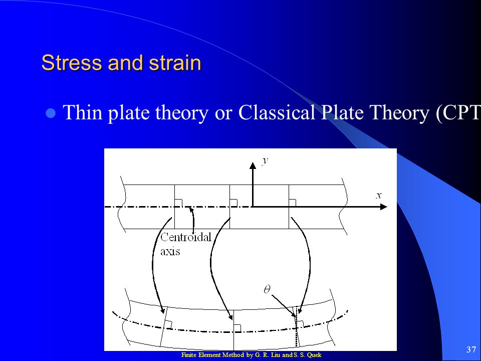 Finite Element Method by G. R. Liu and S. S. Quek 37 Stress and strain Thin plate theory or Classical Plate Theory (CPT)