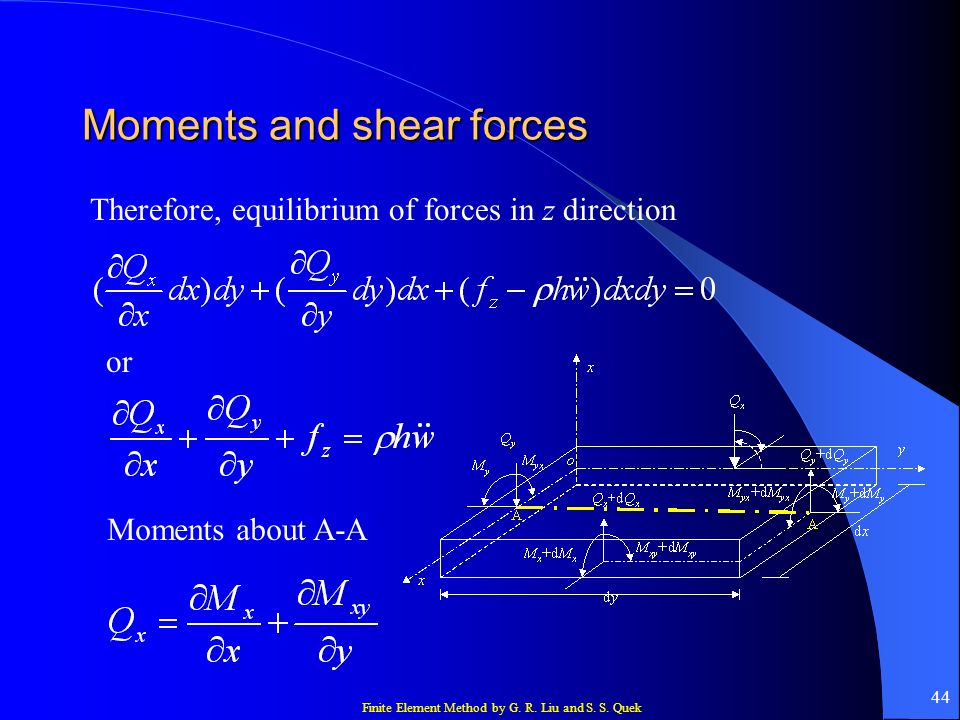 Finite Element Method by G. R. Liu and S. S. Quek 44 Moments and shear forces Therefore, equilibrium of forces in z direction or Moments about A-A