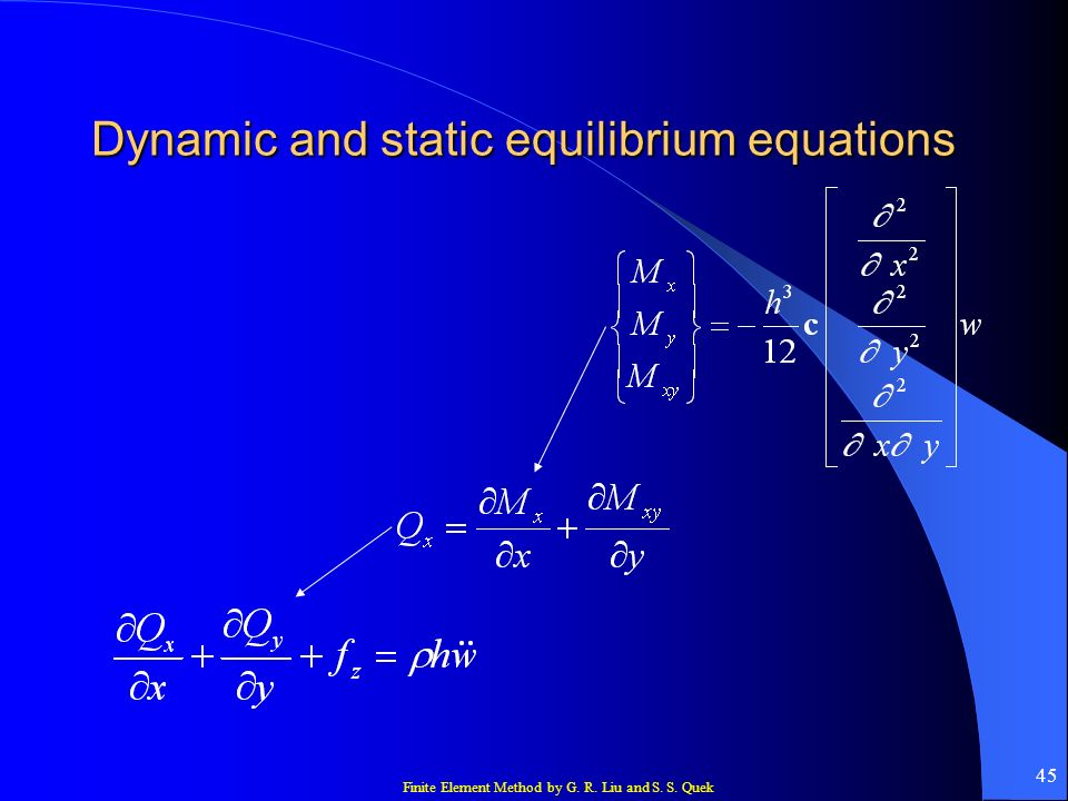 Finite Element Method by G. R. Liu and S. S. Quek 45 Dynamic and static equilibrium equations