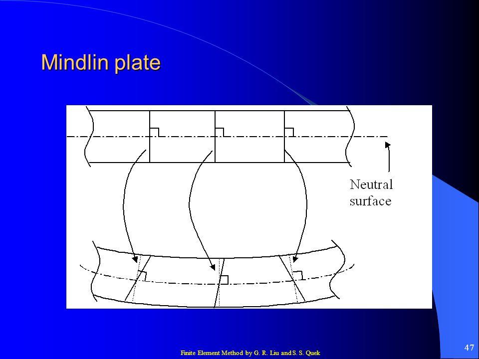 Finite Element Method by G. R. Liu and S. S. Quek 47 Mindlin plate