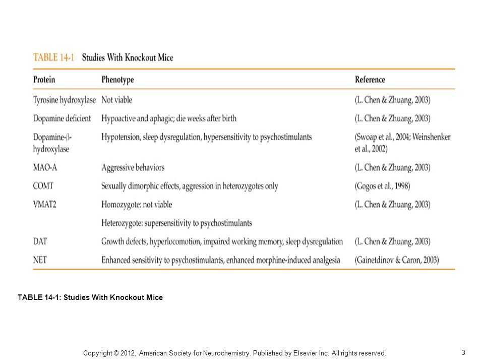 14 TABLE 14-7: Characteristics of Catecholamine Receptor Knockout Mice Copyright © 2012, American Society for Neurochemistry.