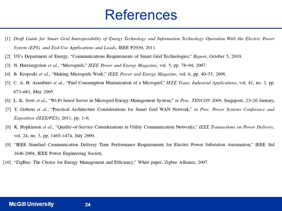 McGill University 24 References