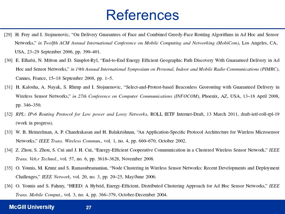 McGill University 27 References
