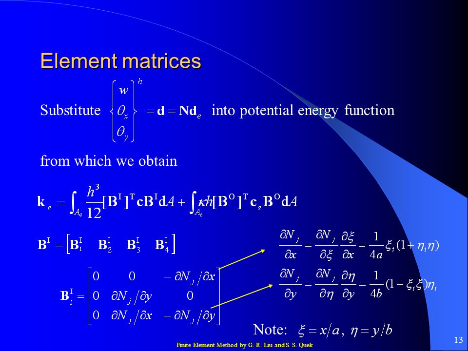 Finite Element Method by G. R. Liu and S. S. Quek 13 Element matrices Substituteinto potential energy function from which we obtain Note: