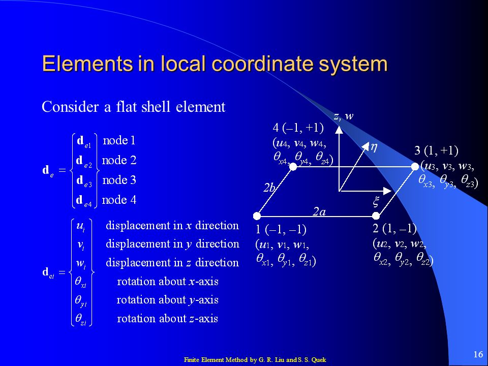 Finite Element Method by G. R. Liu and S. S. Quek 16 Elements in local coordinate system Consider a flat shell element