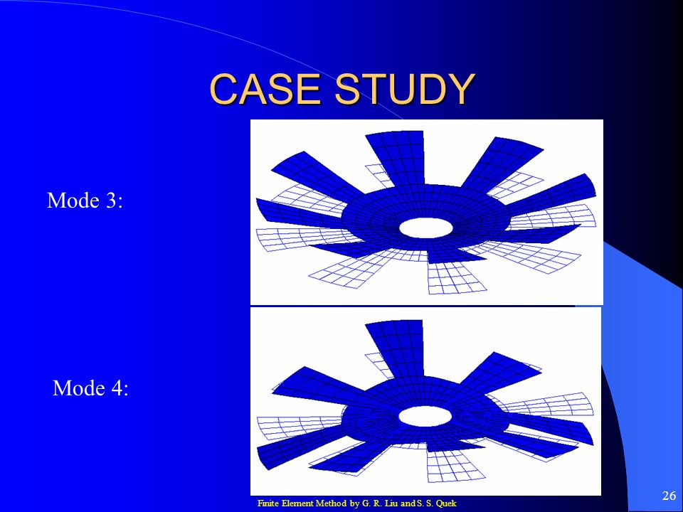 Finite Element Method by G. R. Liu and S. S. Quek 26 CASE STUDY Mode 3: Mode 4:
