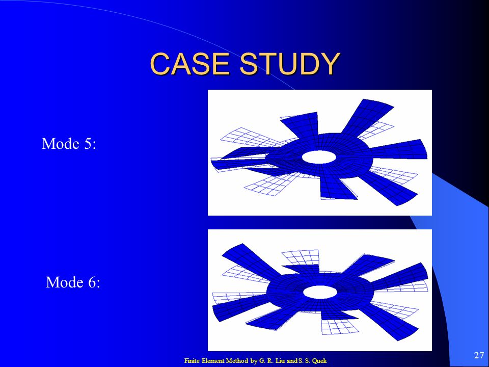 Finite Element Method by G. R. Liu and S. S. Quek 27 CASE STUDY Mode 5: Mode 6: