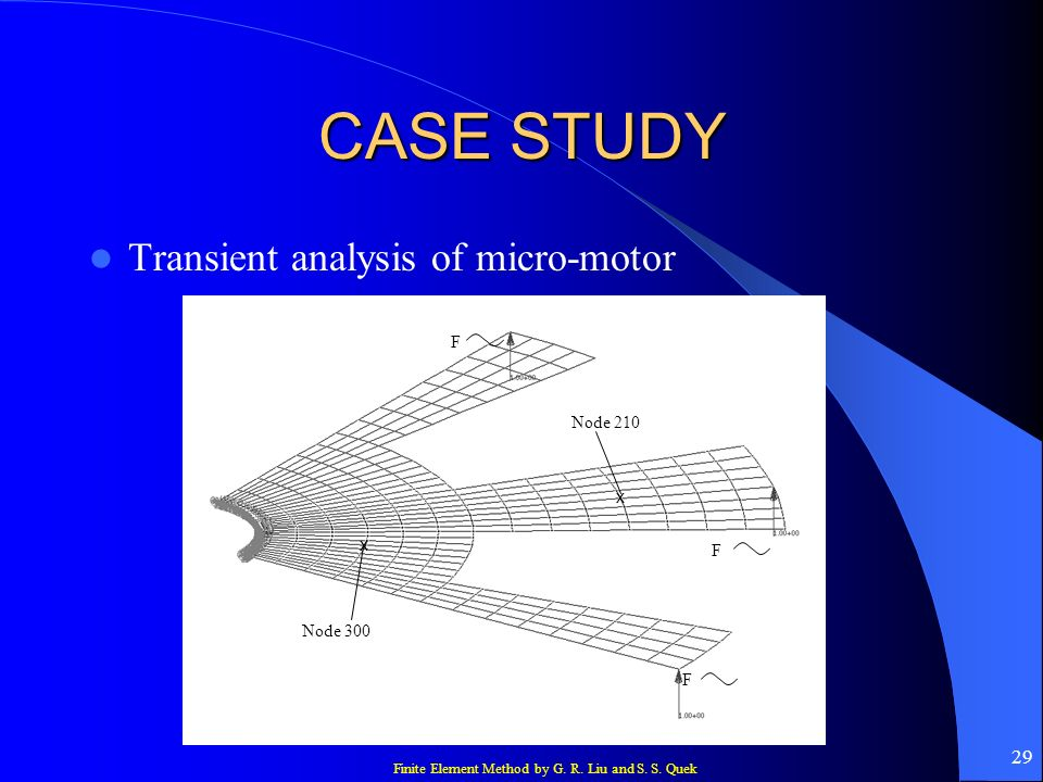 Finite Element Method by G. R. Liu and S. S. Quek 29 CASE STUDY Transient analysis of micro-motor F F F x x Node 210 Node 300