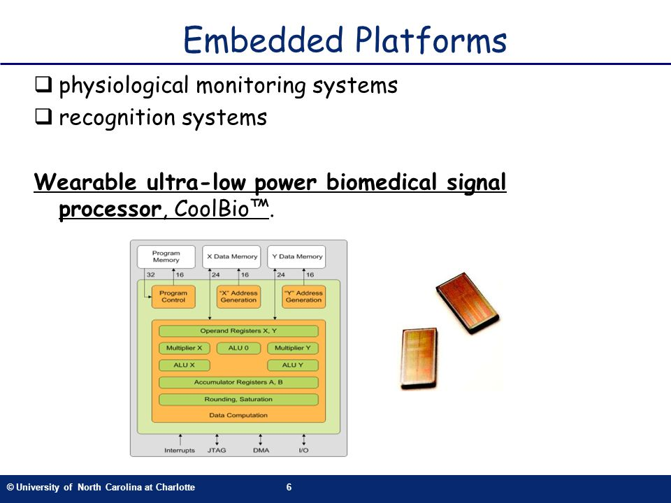 © University of North Carolina at Charlotte6 physiological monitoring systems recognition systems Wearable ultra-low power biomedical signal processor, CoolBio.