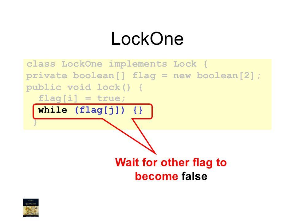 LockOne class LockOne implements Lock { private boolean[] flag = new boolean[2]; public void lock() { flag[i] = true; while (flag[j]) {} } Wait for ot