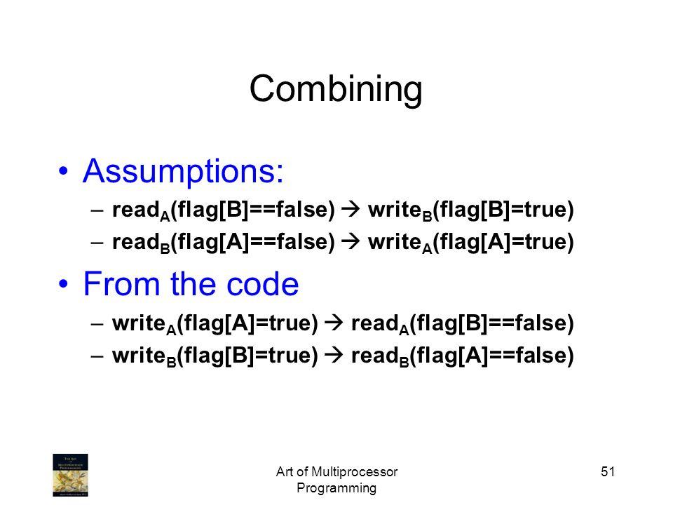 Art of Multiprocessor Programming 51 Assumptions: –read A (flag[B]==false) write B (flag[B]=true) –read B (flag[A]==false) write A (flag[A]=true) From