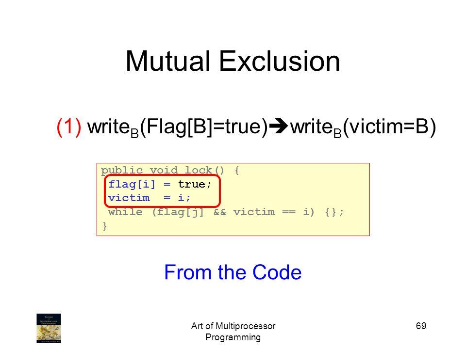 Art of Multiprocessor Programming 69 Mutual Exclusion (1) write B (Flag[B]=true) write B (victim=B) public void lock() { flag[i] = true; victim = i; w