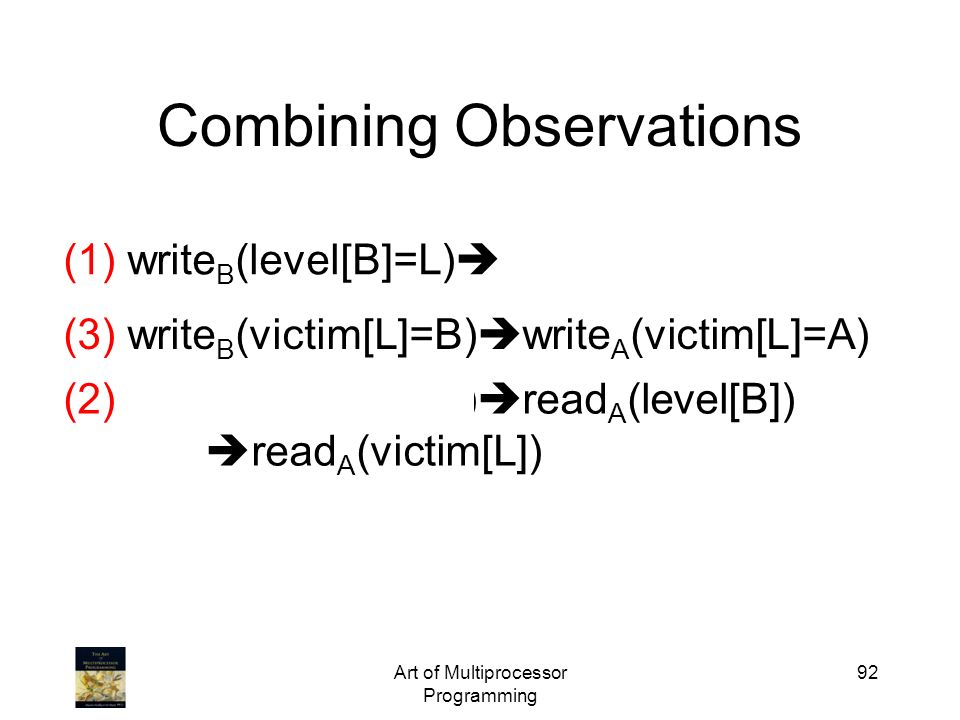 Art of Multiprocessor Programming 92 Combining Observations (1) write B (level[B]=L) write B (victim[L]=B) (3) write B (victim[L]=B) write A (victim[L