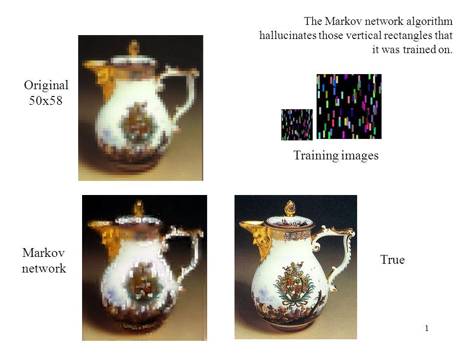 1 Markov network True Original 50x58 The Markov network algorithm hallucinates those vertical rectangles that it was trained on.