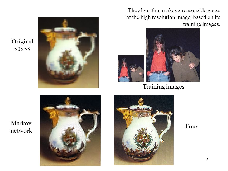 3 Markov network True Original 50x58 The algorithm makes a reasonable guess at the high resolution image, based on its training images. Training image