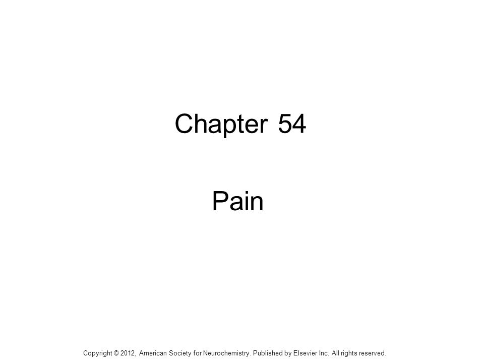 1 Chapter 54 Pain Copyright © 2012, American Society for Neurochemistry. Published by Elsevier Inc. All rights reserved.