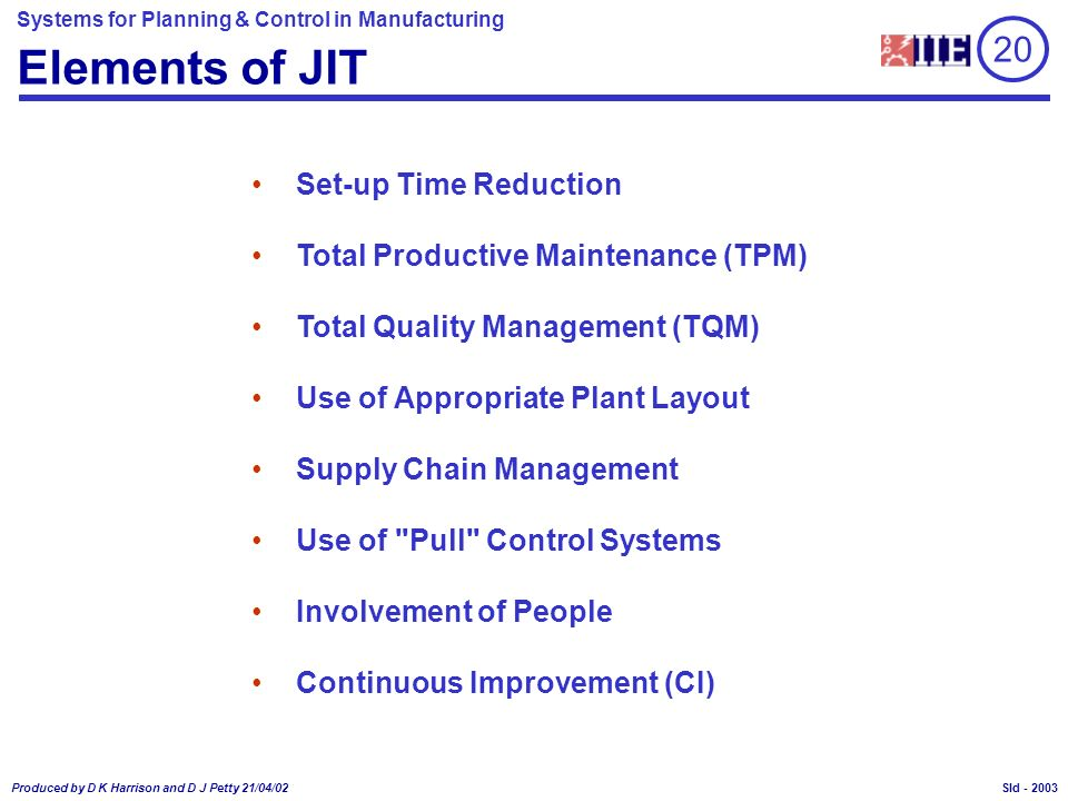 Systems for Planning & Control in Manufacturing Produced by D K Harrison and D J Petty 21/04/02 Sld - JIT Extensions in ERP Packages Smoothing/Rate Levelling Facilities Simplified Order Systems, Including Electronic Data Interchange (EDI) Repetitive Manufacturing (No Works Orders) Provision for Backflushing Receipt/Issue Transaction Work in Process Launch Date Due Date PO Receipt SO Despatch Due Date Due Date Lead Time (L t ) RM STK FGI Process 1 2 3 L t Must be Short 20 2015