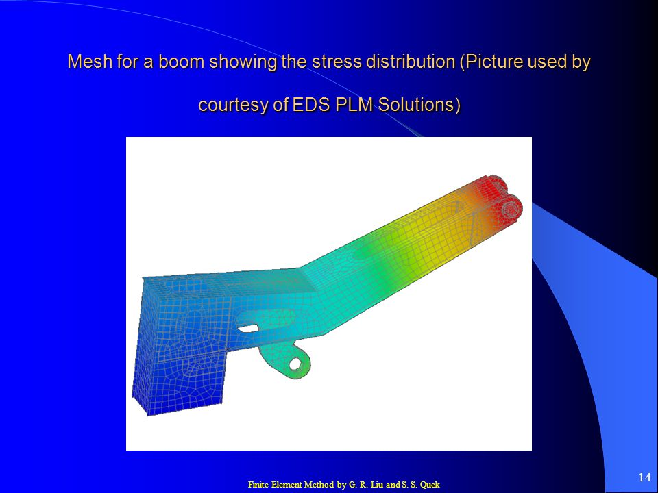 Finite Element Method by G. R. Liu and S. S. Quek 14 Mesh for a boom showing the stress distribution (Picture used by courtesy of EDS PLM Solutions)