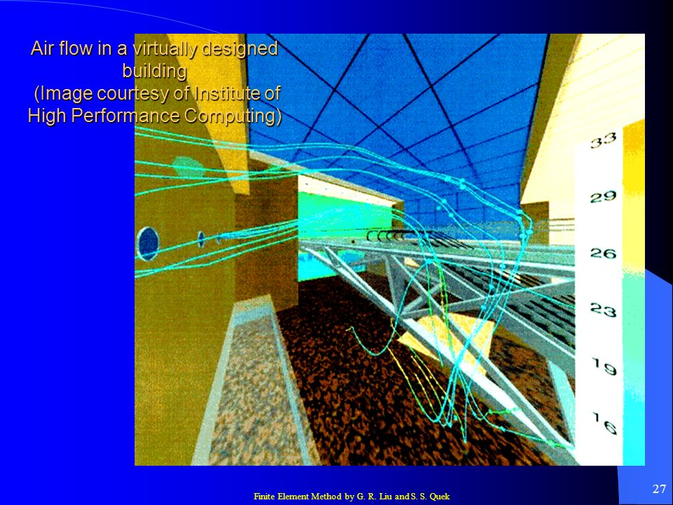 Finite Element Method by G. R. Liu and S. S. Quek 27 Air flow in a virtually designed building (Image courtesy of Institute of High Performance Comput