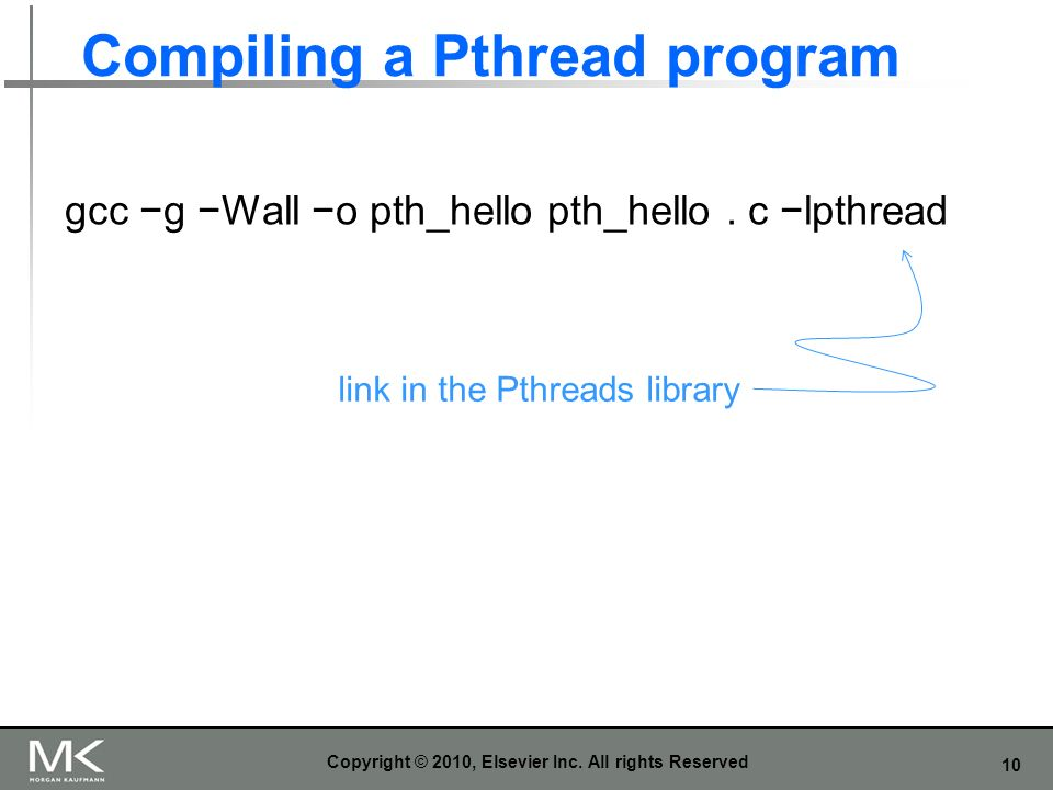 10 Compiling a Pthread program Copyright © 2010, Elsevier Inc.