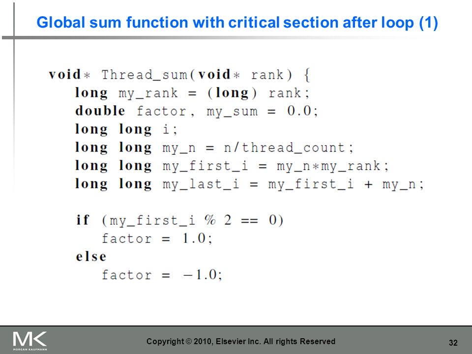 32 Global sum function with critical section after loop (1) Copyright © 2010, Elsevier Inc.