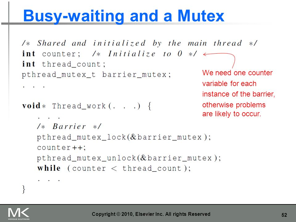 52 Busy-waiting and a Mutex Copyright © 2010, Elsevier Inc.