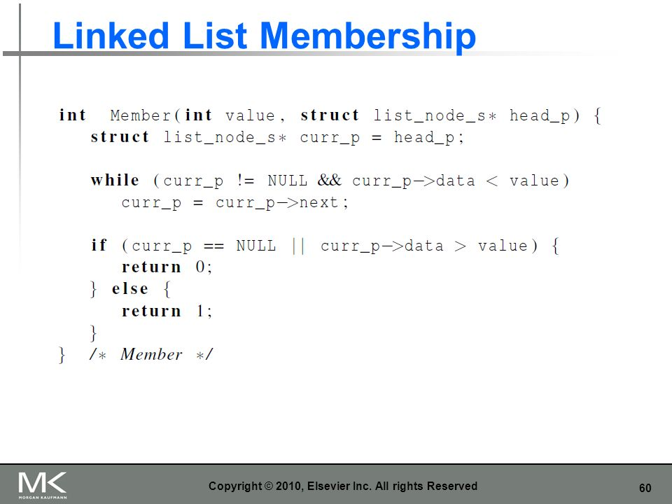 60 Linked List Membership Copyright © 2010, Elsevier Inc. All rights Reserved