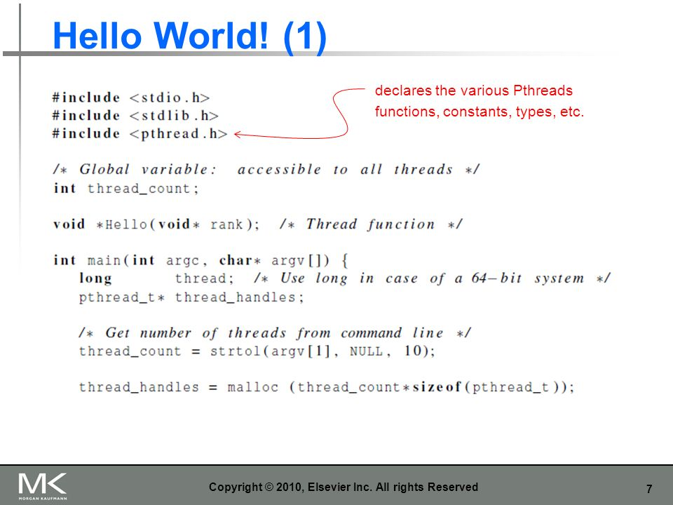 7 Hello World. (1) Copyright © 2010, Elsevier Inc.