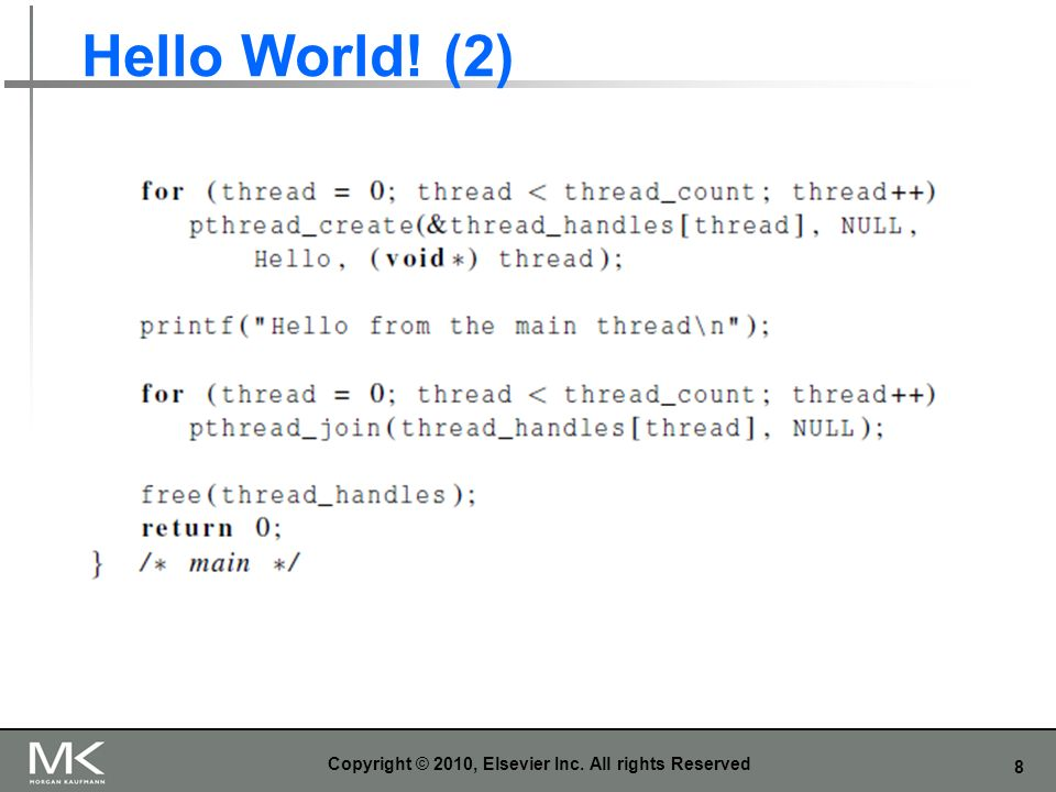 8 Hello World! (2) Copyright © 2010, Elsevier Inc. All rights Reserved