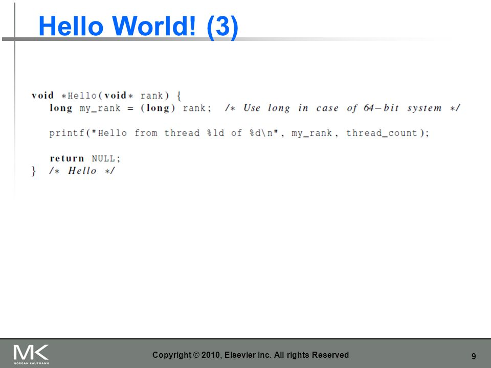 9 Hello World! (3) Copyright © 2010, Elsevier Inc. All rights Reserved