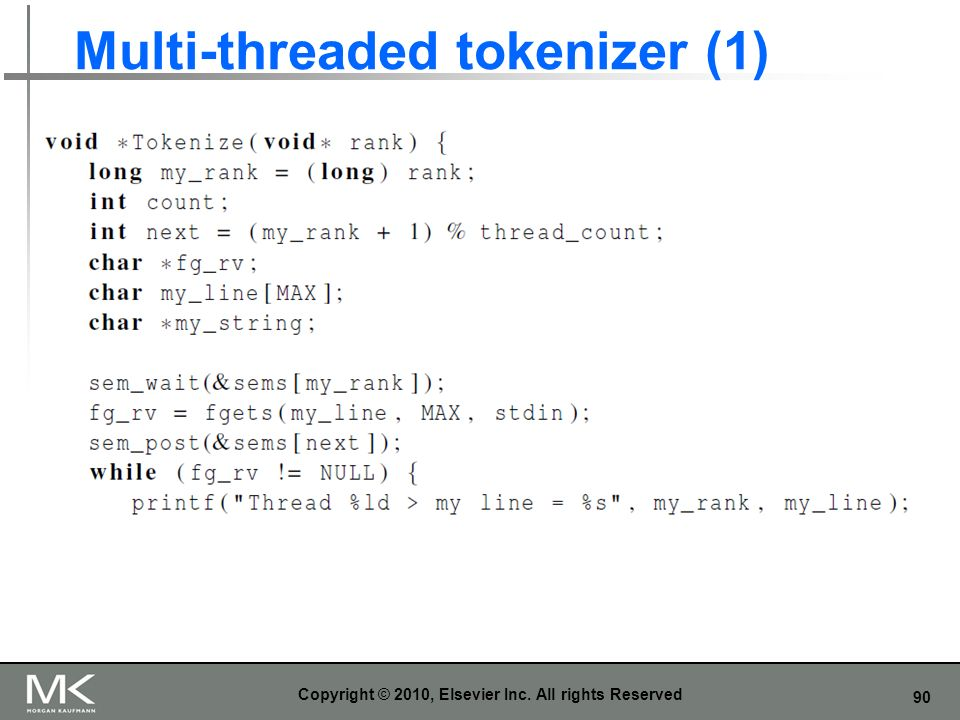 90 Multi-threaded tokenizer (1) Copyright © 2010, Elsevier Inc. All rights Reserved