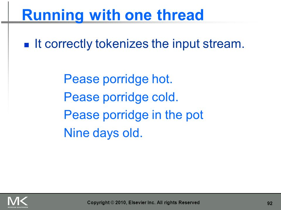 92 Running with one thread It correctly tokenizes the input stream.