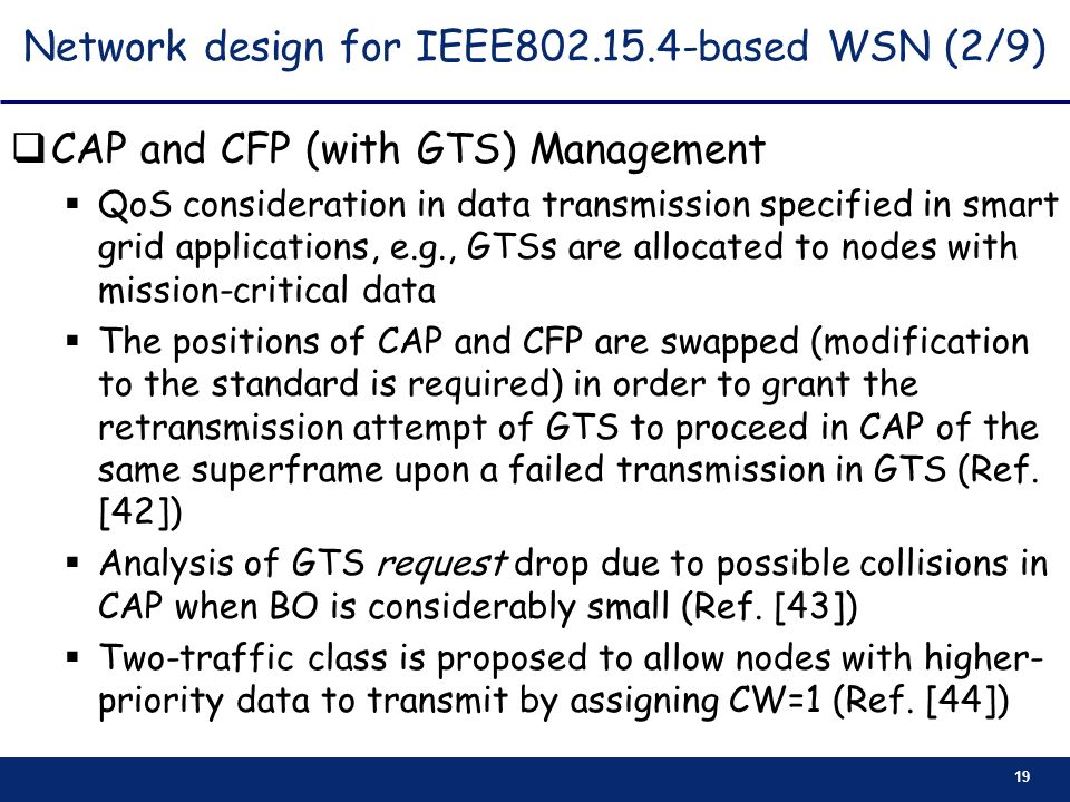 19 Network design for IEEE802.15.4-based WSN (2/9) CAP and CFP (with GTS) Management QoS consideration in data transmission specified in smart grid ap