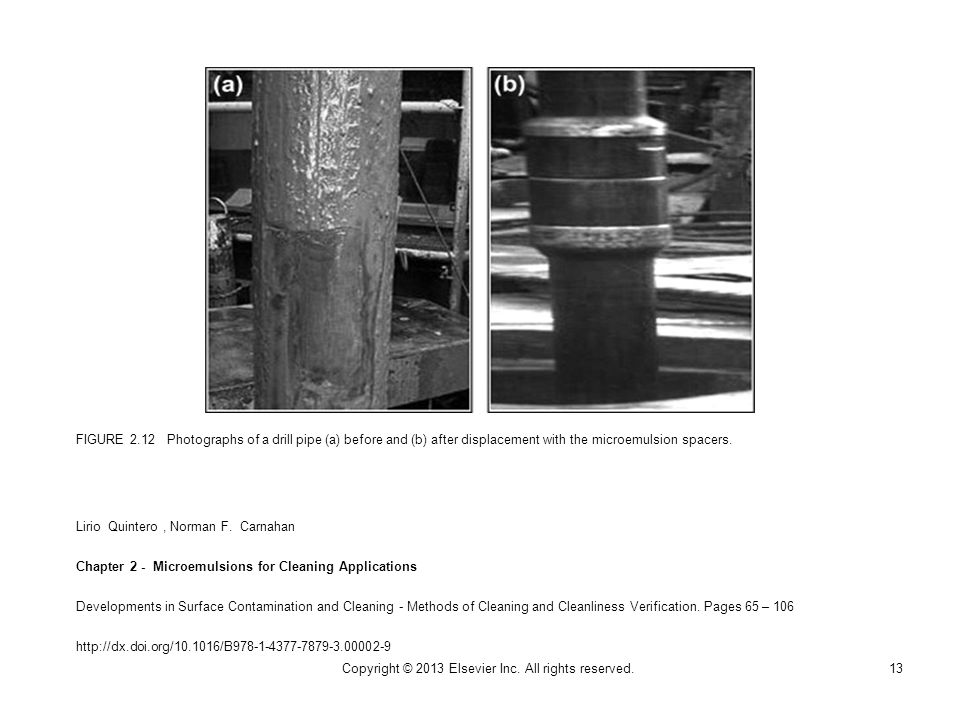 FIGURE 2.12 Photographs of a drill pipe (a) before and (b) after displacement with the microemulsion spacers.