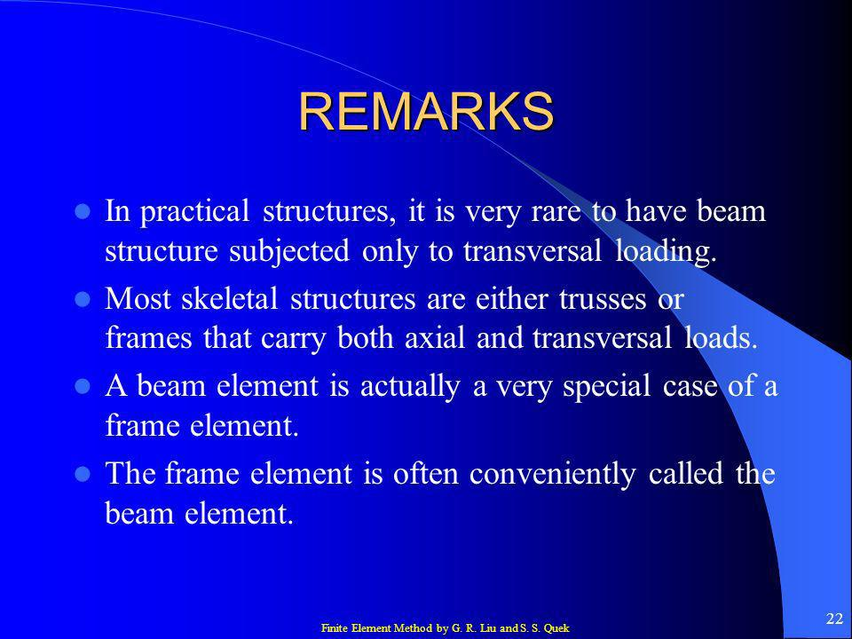 Finite Element Method by G. R. Liu and S. S. Quek 22 REMARKS In practical structures, it is very rare to have beam structure subjected only to transve