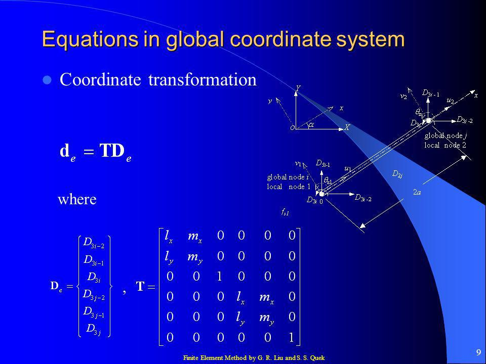 Finite Element Method by G. R. Liu and S. S. Quek 9 Equations in global coordinate system Coordinate transformation where,