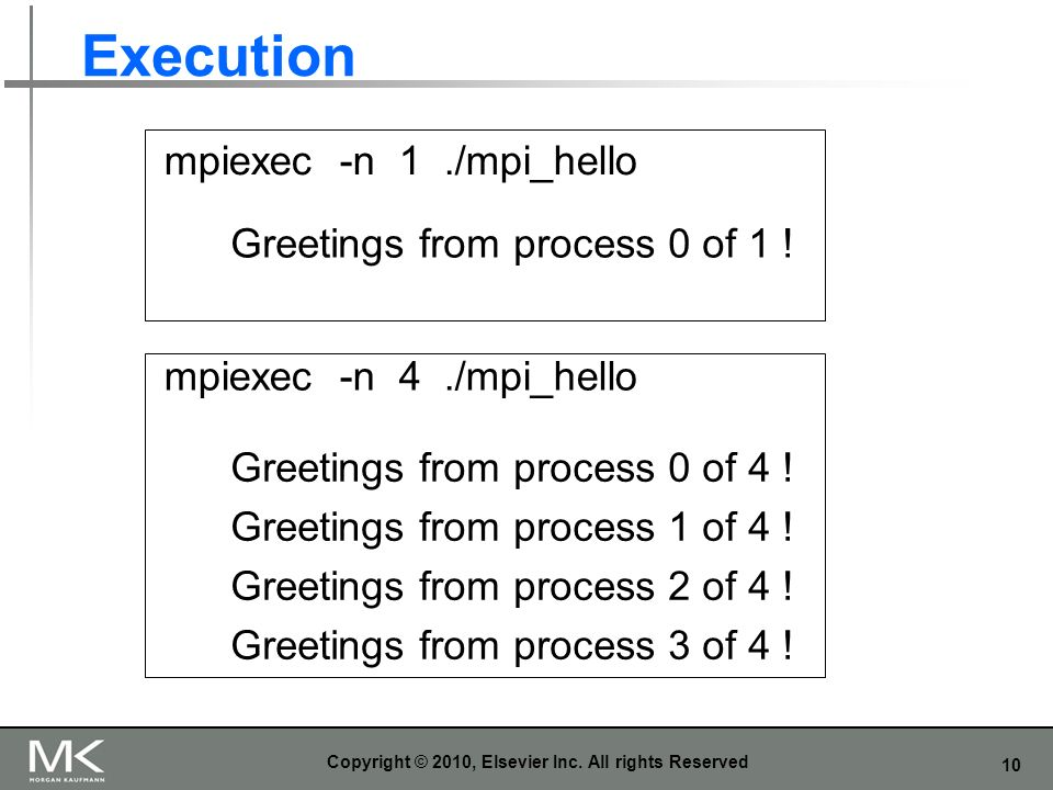 10 Execution Copyright © 2010, Elsevier Inc. All rights Reserved mpiexec -n 1./mpi_hello mpiexec -n 4./mpi_hello Greetings from process 0 of 1 ! Greet